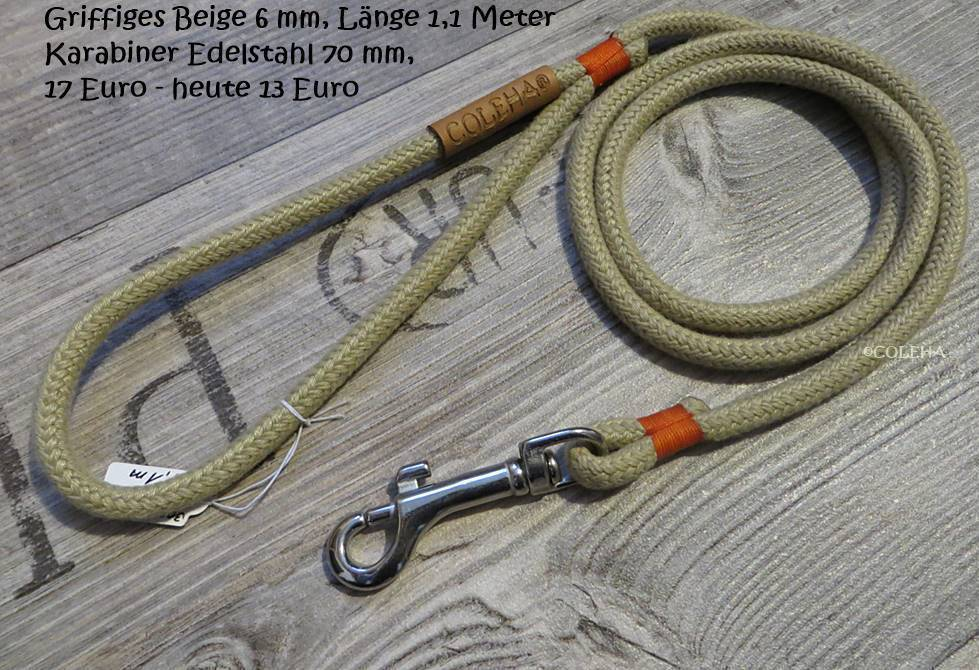 Griffiges Beige  6 mm - 1,1 Meter